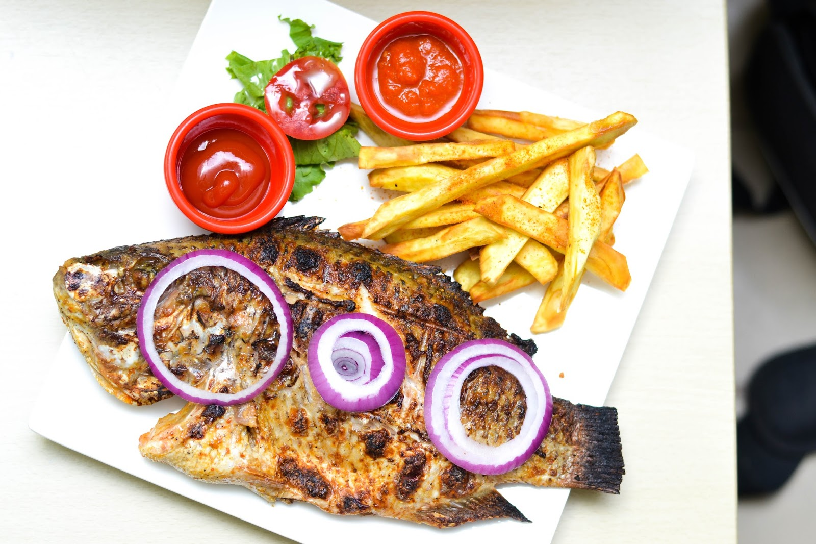 Sweet Potato Fries, Red Onions and Grilled Fish