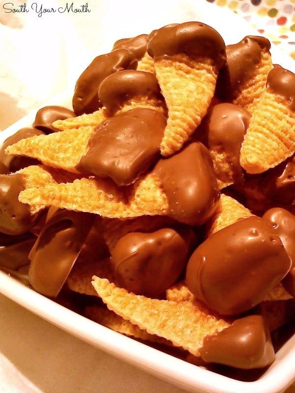 Chocolate Dipped Peanut Butter Stuffed Bugles! A super fun and easy treat with Bugles snack crisps stuffed with peanut butter then dripped in melted chocolate.