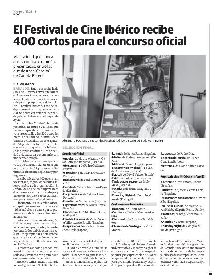 Festival de Cortos de Badajoz, HOY, Alejandro Pachón