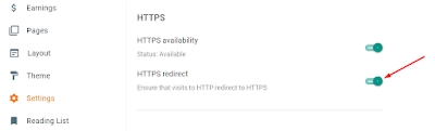 Turn on the HTTPS redirects