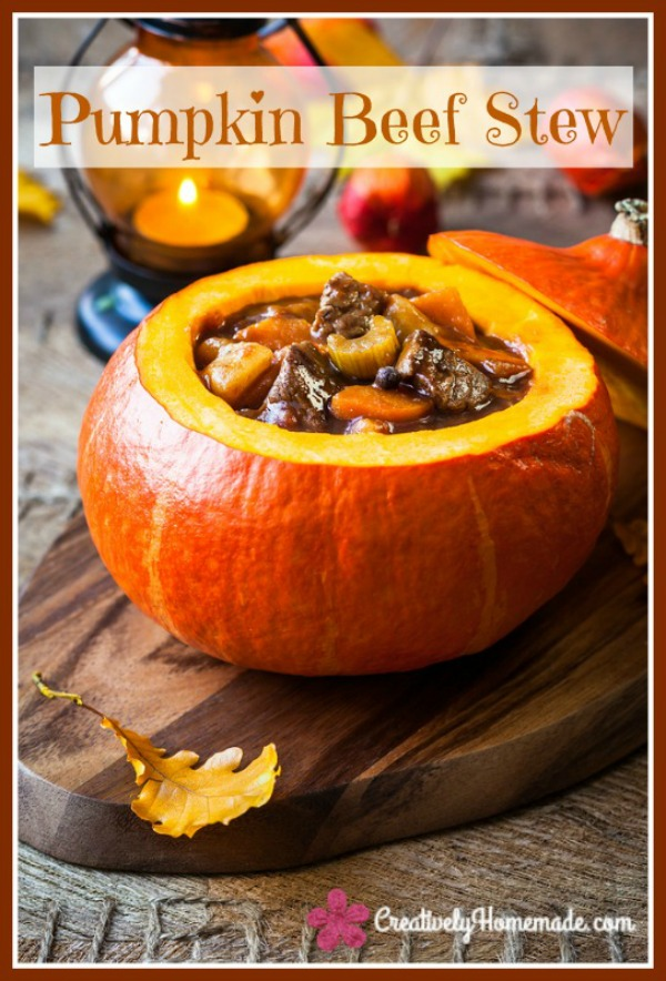 Beef Stew Baked in a Pumpkin from Creatively Homemade