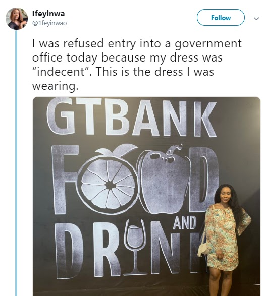 Lady was refused entry into a government office, because of 'Indecent dressing' - SEE DRESSING HERE