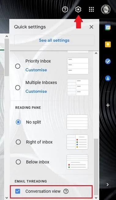 كيفية تعطيل إعدادات عرض محادثة Gmail