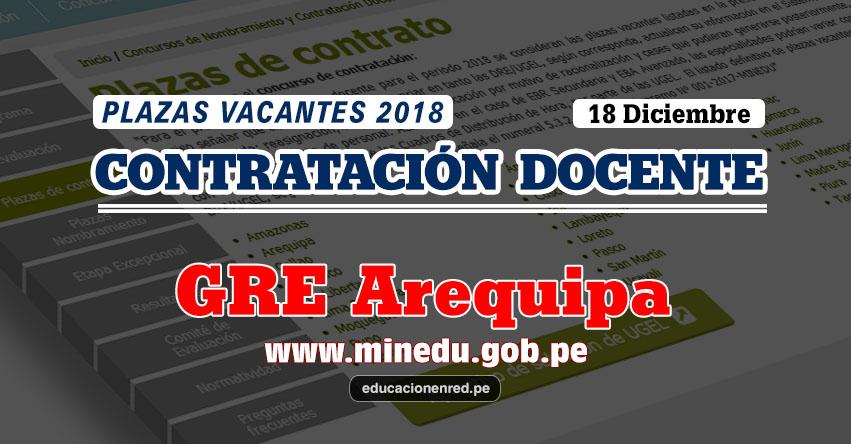 GRE Arequipa: Plazas Vacantes Contrato Docente 2018 (.PDF) www.grearequipa.gob.pe