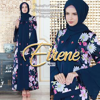 dress wanita muslimah modis Ayyanameena Eirene Navy
