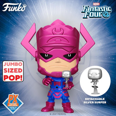 Previews Exclusive Fantastic Four Metallic Galactus with Silver Surfer Jumbo Pop! Marvel Vinyl Figure by Funko