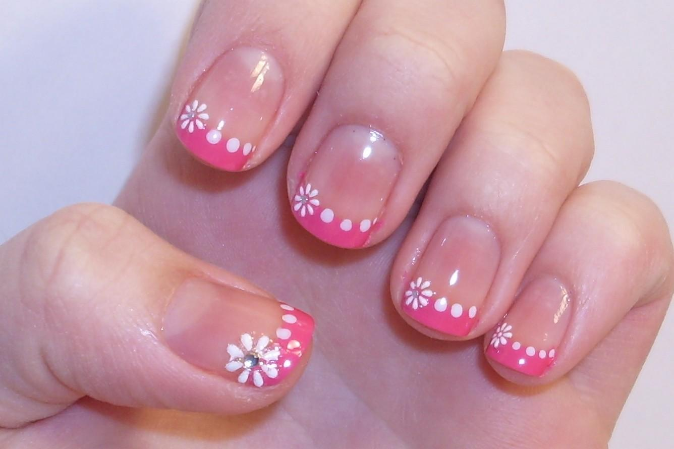 Pink tip nails with designs