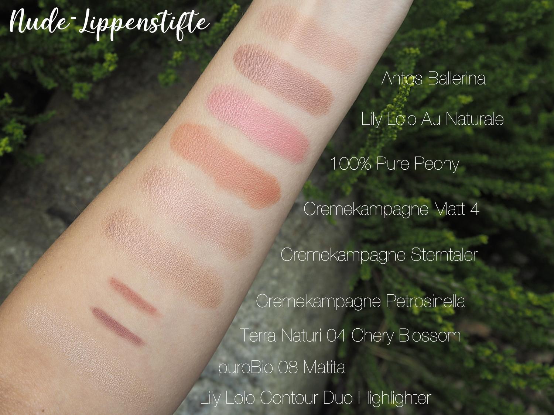 Naturkosmetik-Nude-Lippenstifte Swatches