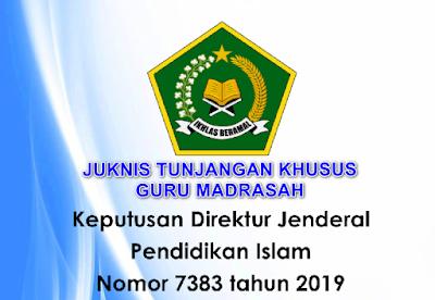 Menindaklanjuti Keputusan Direktur Jenderal Pendidikan Islam Kementerian Agama Republik Indonesi Nomor : 7383 Tahun 2019 tanggal 31 Desember 2019 tentang Petunjuk Teknis Pemberian Tunjangan Khusus bagi Guru Bukan Pegawai Negeri Sipil pada Madrasah Tahun 2020. Maka sesuai perihal di atas di sampaikan kepada Saudara/Saudari untuk ditindaklanjuti sebagai acuan pembayaran Tunjangan Khusus bagi Guru Bukan Pegawai Negeri Sipil pada Madrasah Tahun 2020.