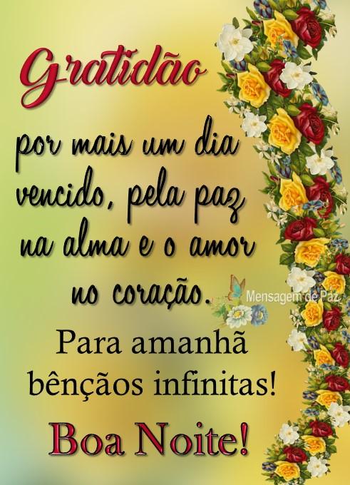 Gratidão por mais um dia  vencido, pela paz na alma  e o amor no coração.  Para amanhã bênçãos infinitas!  Boa Noite!