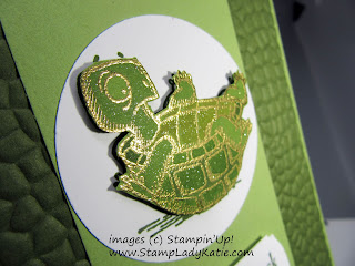 """Get Well card made with the turtle image from Stampin'Up!'s """"Back On Your Feet"""" stamp set and Hammered Metal embossing folder"""