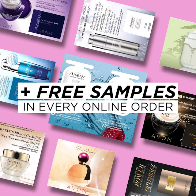 All products can be found on my Avon online store. Every Customer who places an order through my eStore and chooses direct delivery will receive samples of a popular skin care product and a fragrance, Free!