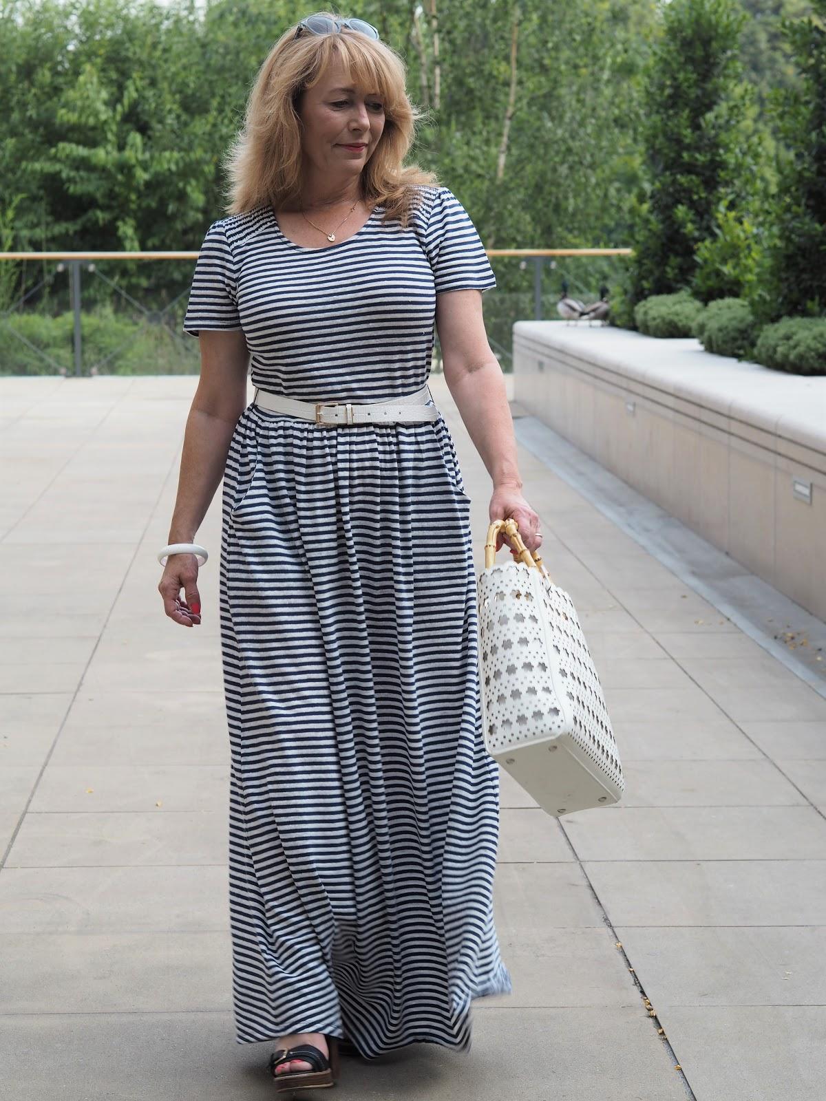 Laura Ashley Classic Stripe Dress Amp White Cutwork Bag