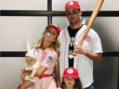 "There's no crying in baseball! Denny Hamlin, along with girlfriend Jordan Fish and their two little girls, went with a classic from the movie ""A League of Their Own."""