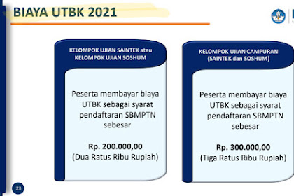 Biaya UTBK Kelompok Ujian Saintek atau Soshum dan CampuranTahun 2021