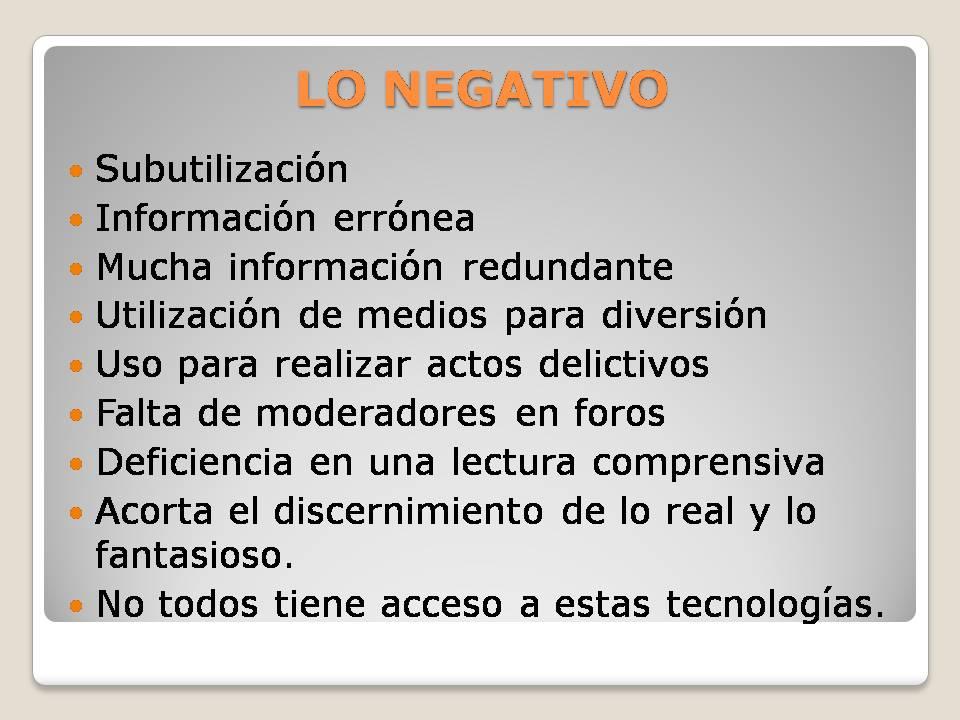 La Tic Aspectos Positivos Y Negativos De Las Tics