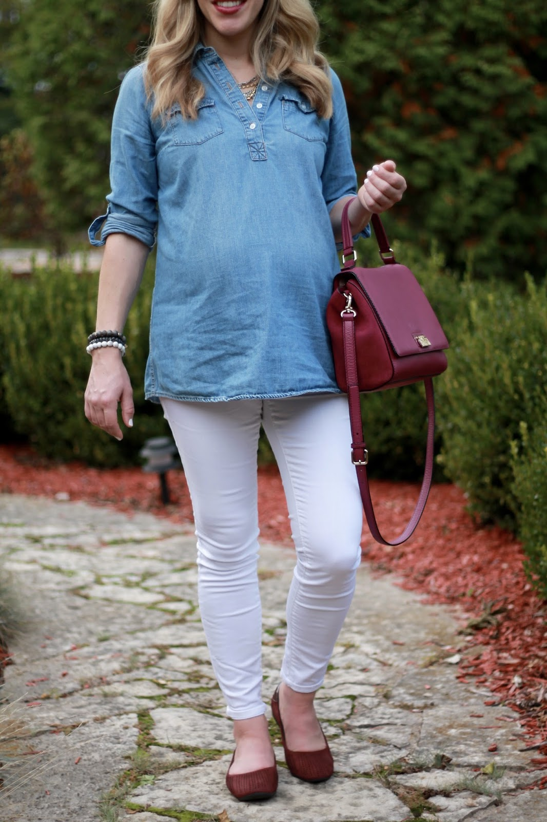 fall maternity outfit, white jeans in fall, chambray, white jeans, burgundy flats, plum Kate Spade bag, Sutton necklace, foot petals flats