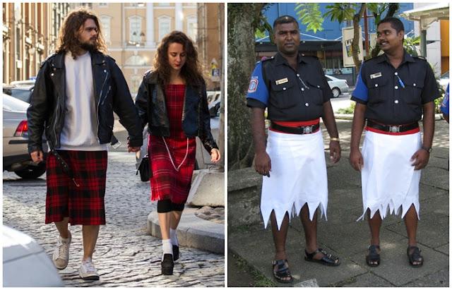 Países homens usam vestidos e saias