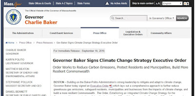 screen grab of Gov Baker Executive Order on Climate Change