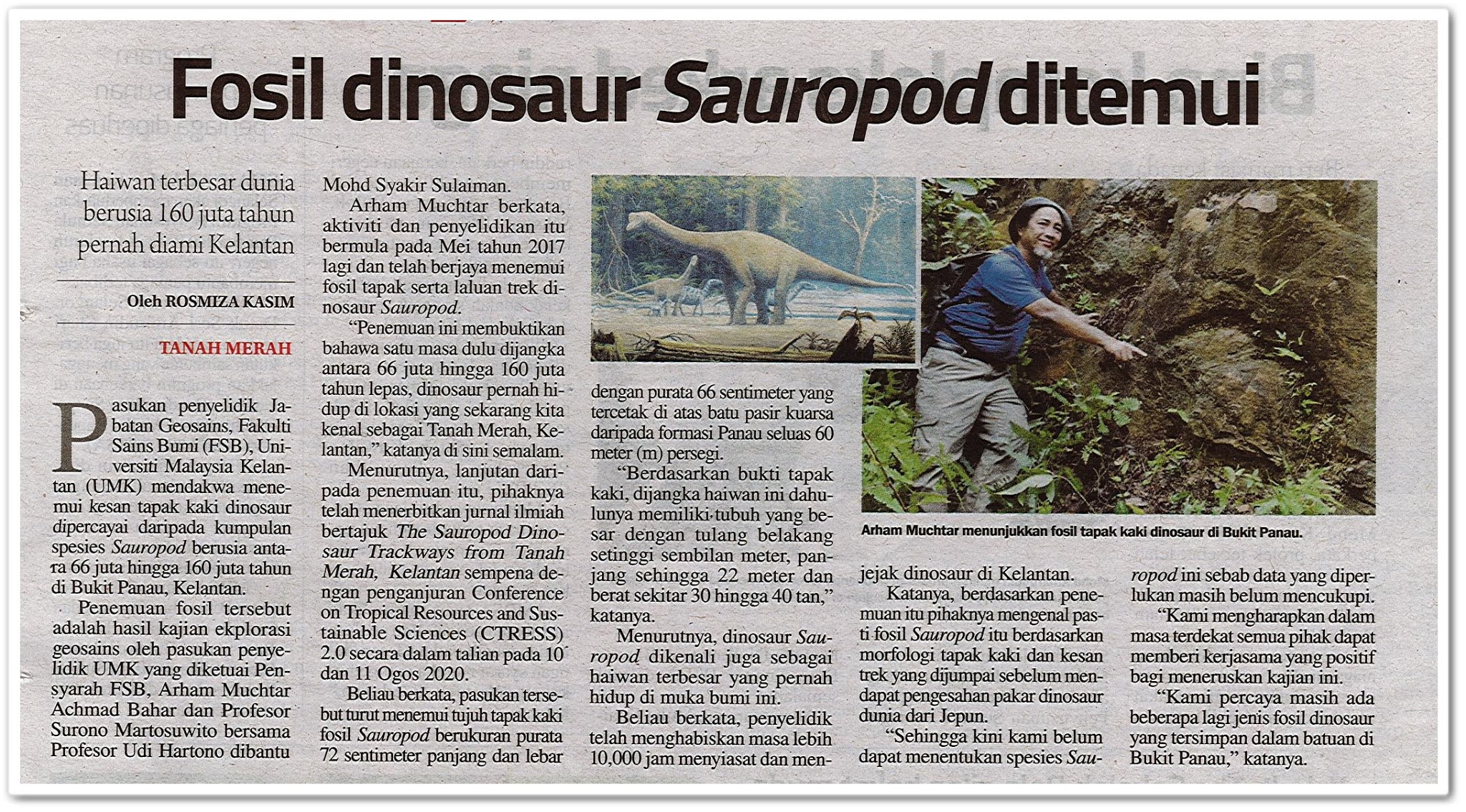 Fosil dinosaur Sauropod ditemui - Keratan akhbar Sinar Harian 16 Ogos 2020