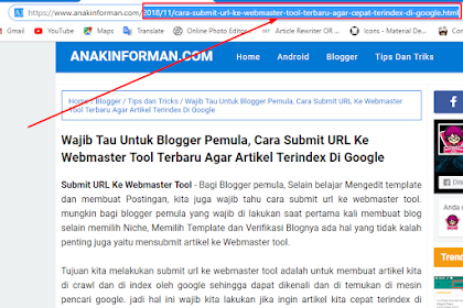Wajib Tau Untuk Blogger Pemula, Cara Submit URL Ke Webmaster Tool Terbaru Agar Artikel Terindex Di Google