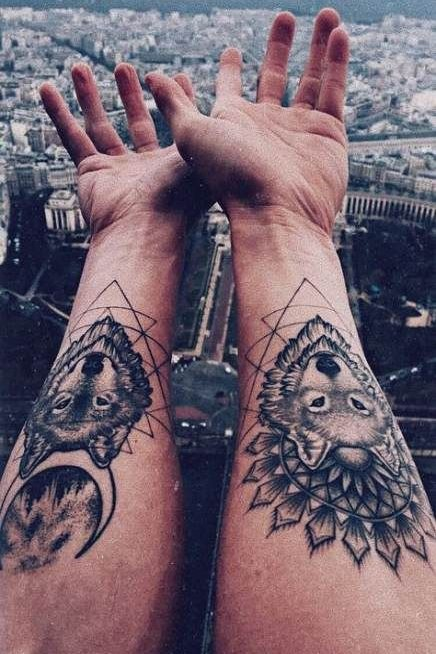 Mandala + Wolf Tattoos on Wrist