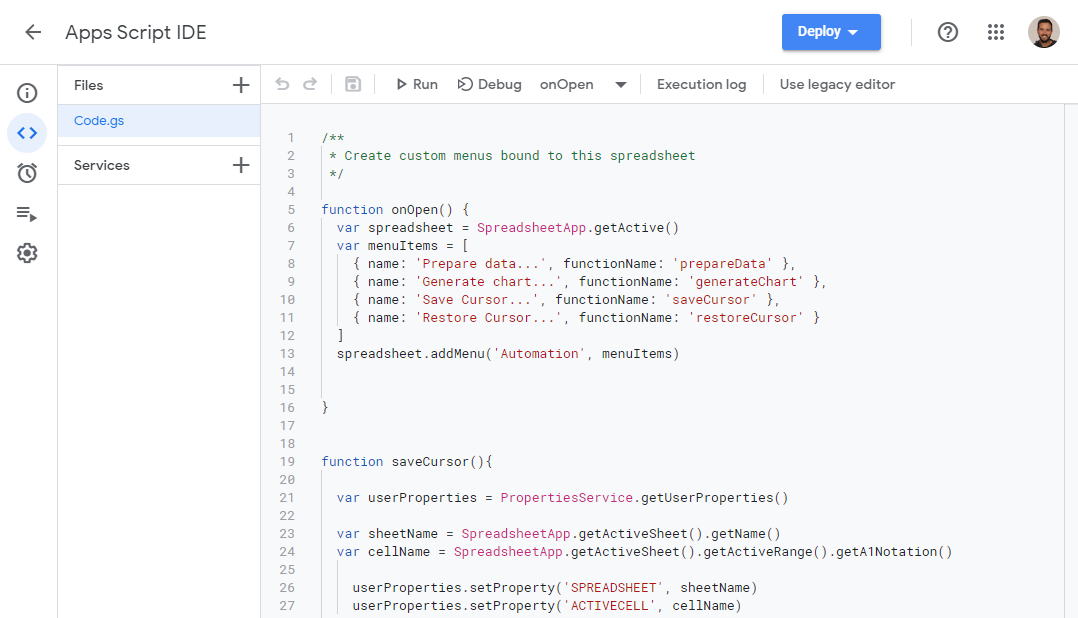 Apps Script Code Editor