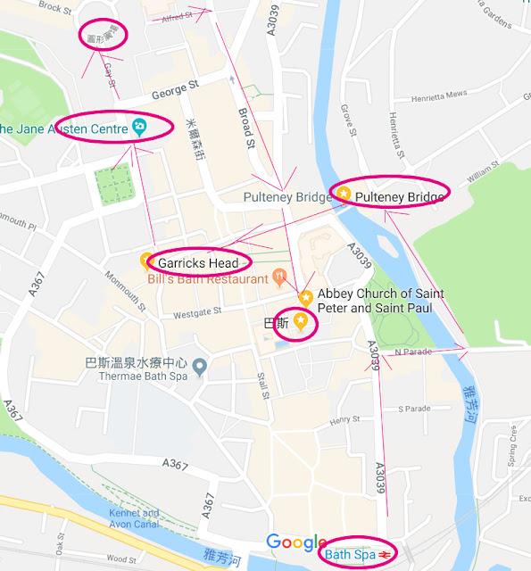 英國旅遊/巴斯Bath一日遊地圖