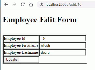 update or edit employee form file