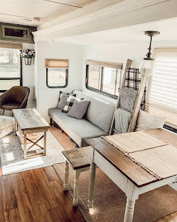 Renovated RV Living room with Farmhouse Inspired Decor