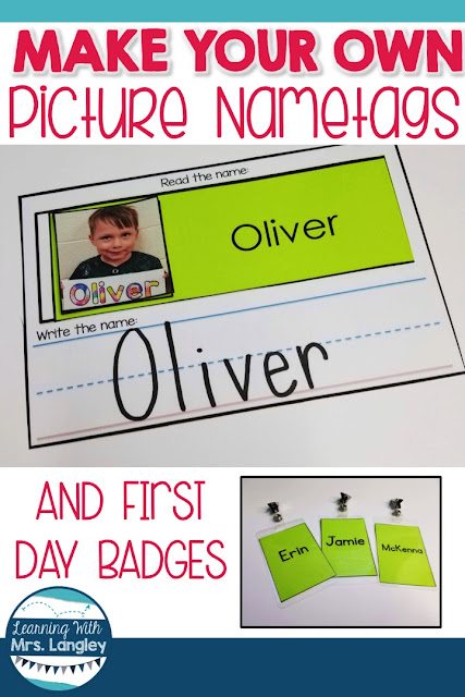 This blog post includes a back to school name tag free printable that you can do the first day. Kids will enjoy this fun coloring activity and you will love the ideas in this post! Get ready for open house, decorate your classroom with cute student pictures, and create a loving and friendly classroom environment with these easy classroom name tags and first day badges.  #kindergarten #tpt #kindergartenclassroom
