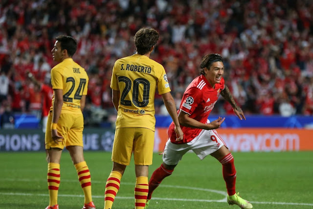 ملخص واهداف مباراة برشلونة وبنفيكا (0-3) دوري ابطال اوروبا