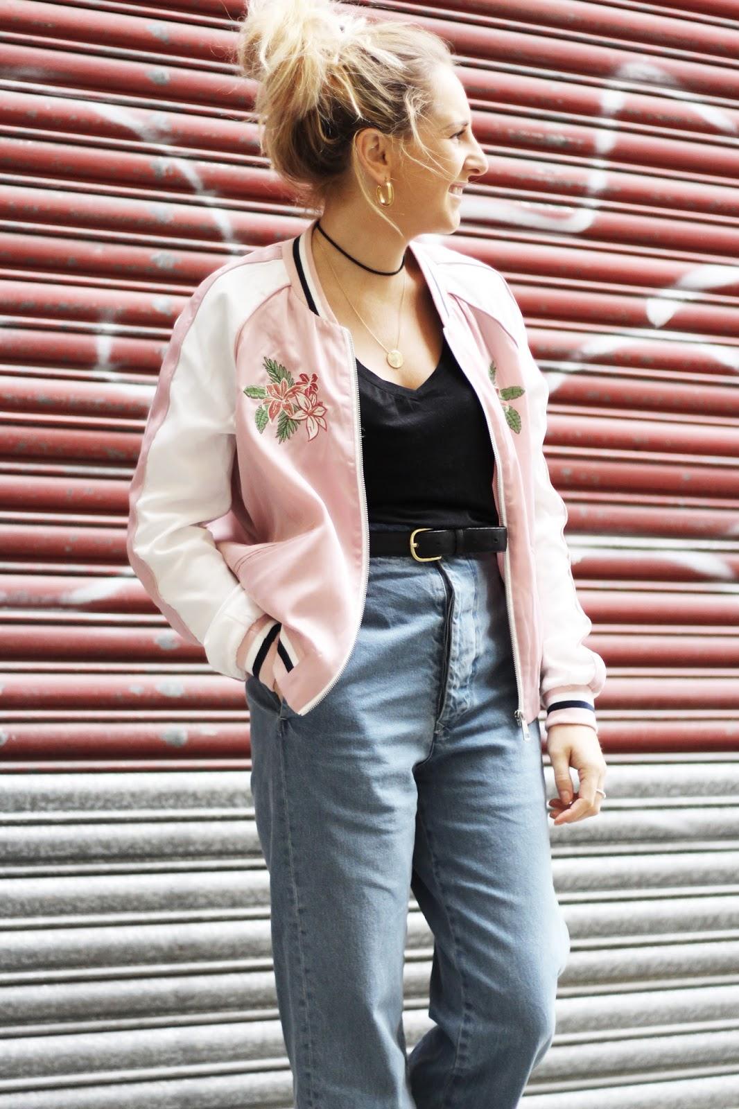Pink bomber jacket street style