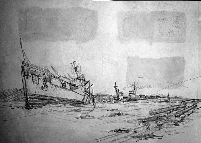 Boceto de pintura hyndimiento Scapa Flow 5