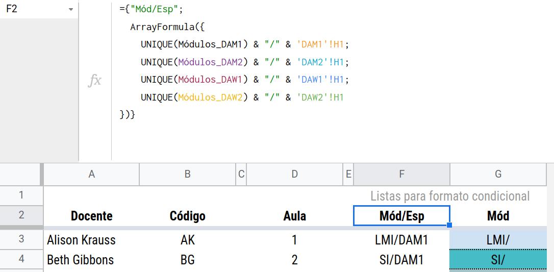 Fórmula para generar la lista de módulos diferenciada por grupos (especialidades).
