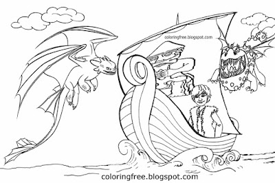Hiccup and Toothless how to train your dragon movie picture simple Viking dragons drawing to color
