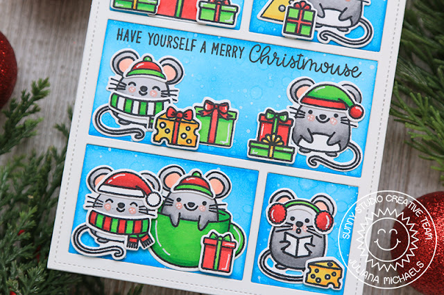 Sunny Studio Stamps: Merry Mice Comic Strip Everyday Dies Christmas Card by Juliana Michaels