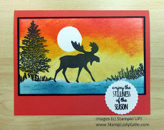 Sponged Sunset Scene made with images from the Merry Moose stamp set by Stampin'UP