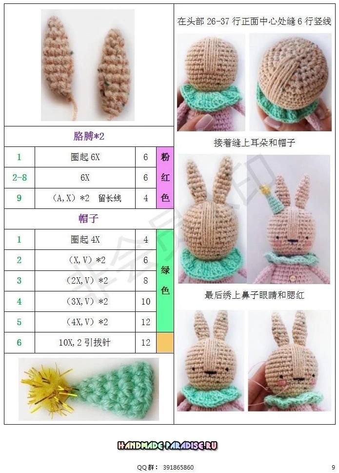 Крольчиха с малышом амигуруми. Описание вязания (10)