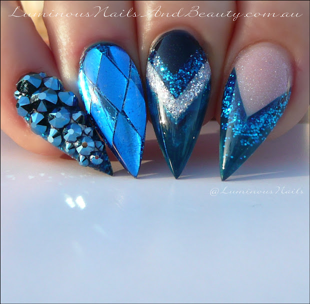 luminous nails metallic blue nails