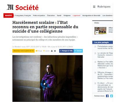 http://www.lemonde.fr/societe/article/2017/02/02/harcelement-scolaire-l-etat-reconnu-en-partie-responsable-du-suicide-d-une-collegienne_5073696_3224.html