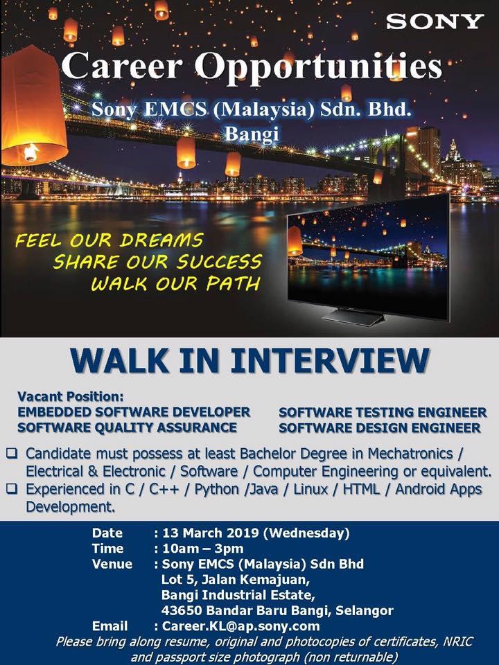 Temuduga Terbuka di Sony Malaysia Bangi - Appkerja Malaysia