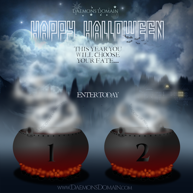 Happy Hallowee from Daemons Domain! You will choose between two packages: One with A Discovery of Witches, one with Shadow of Night both by Deborah Harkness