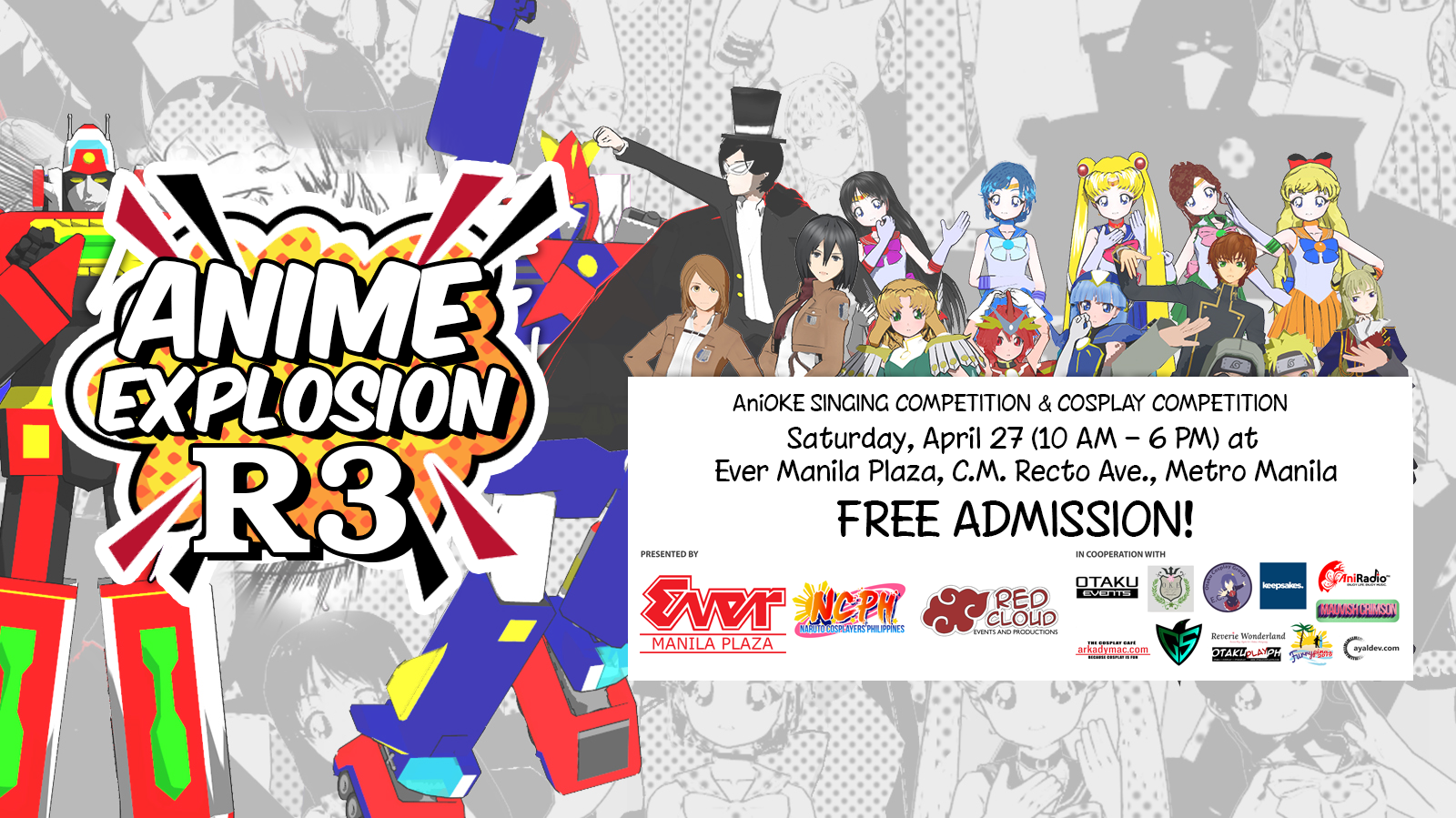Anime explosion reborn r3 is the 3rd season of an event inspired by the early rise of conventions and anime fandom in the philippines during the 90s