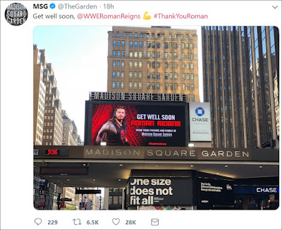 MSG Tweets Get Well Soon Message To Roman Reigns