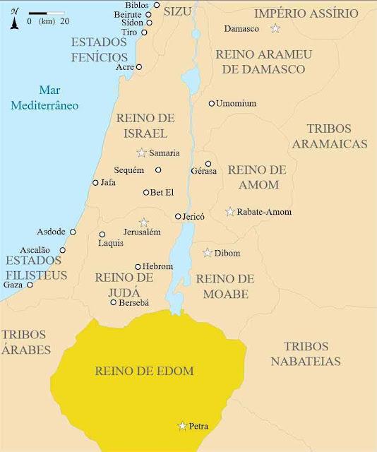 Reino de Edom por volta de 830 a.C.