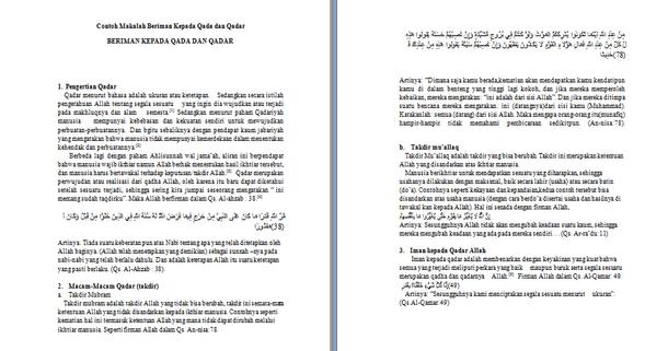 Contoh Makalah Beriman Kepada Qada Dan Qadar