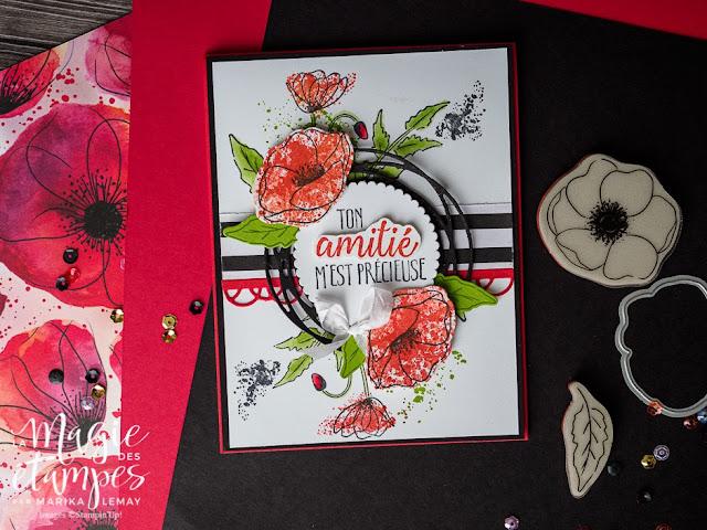 Carte Stampin' Up! avec le jeu d'étampes Painted poppies