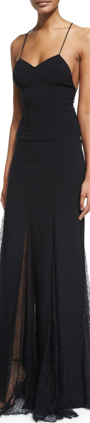 Michael Kors Sleeveless Open-Back Lace-Overlay Gown