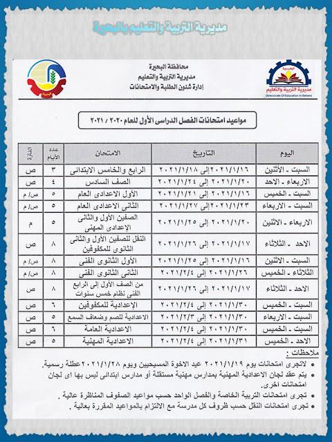 مواعيد امتحانات الفصل الدراسي الأول للعام 2020 / 2021 جميع المراحل
